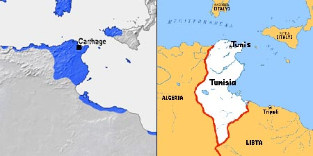 Carthage - Tunisia map